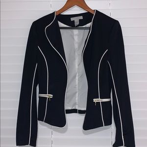 Navy and white blazer